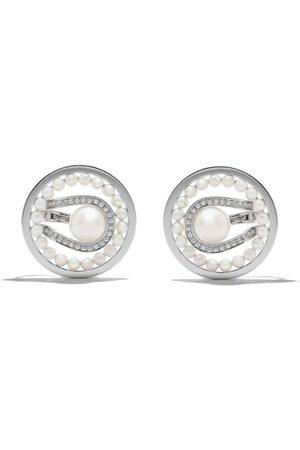 Tasaki 18kt white gold Nacreous Akoya pearl and diamond ear clips