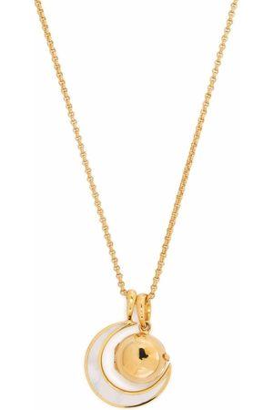 Dinny Hall My World small orb locket & moon charm pendant necklace