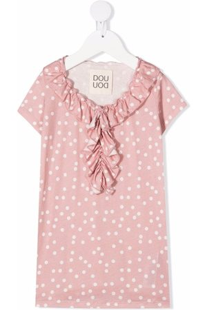 DOUUOD KIDS Girls Printed Dresses - Polka dot-print ruffled dress
