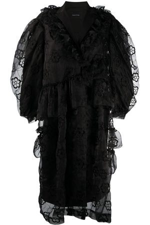 Simone Rocha Floral embroidery tulle panelling dress