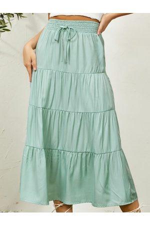 YOINS Tiered Design Drawstring Waist Maxi Skirt