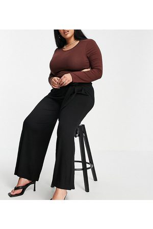 Yours Exclusive tie waist wide leg trousers in