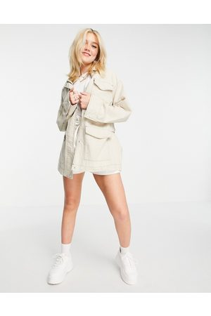 ASOS DESIGN Slouchy four pocket linen jacket in natural