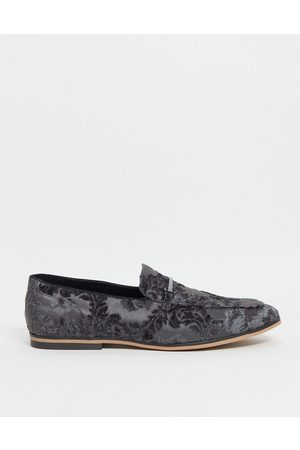 ASOS Loafers in velvet floral design with snaffle