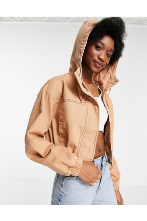 ASOS Washed hooded cropped jacket in coral