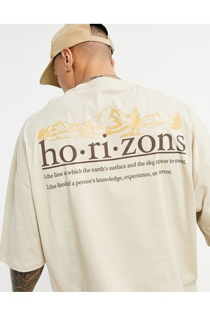 ASOS Oversized t-shirt in organic cotton with horizon back print-Neutral