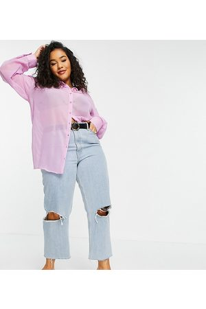 Native Youth Oversized sheer shirt in lilac