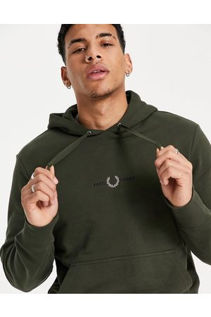 Fred Perry Embroidered logo hooded sweatshirt in dark