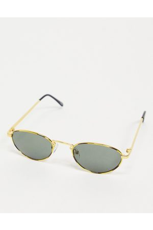 ASOS Vintage mini oval sunglasses in gold with smoke lens