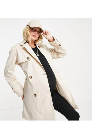 ASOS Women Trench Coats - ASOS DESIGN Maternity trench coat in stone-Neutral