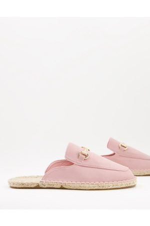ASOS Slip on mule espadrilles in faux suede with snaffle