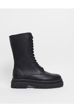 ASOS Lace up calf boots in faux leather on chunky sole