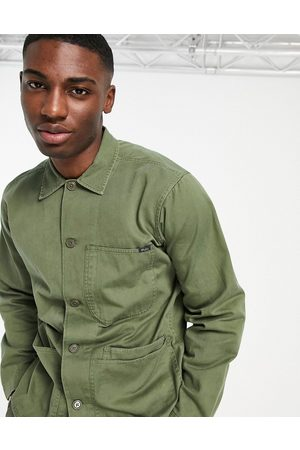 Polo Ralph Lauren Twill player logo patch pocket over shirt custom regular fit in army olive