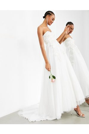 ASOS Matilda bandeau wedding dress with full skirt and floral embroidery