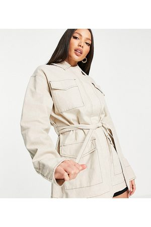 ASOS Tall slouchy four pocket linen jacket in natural