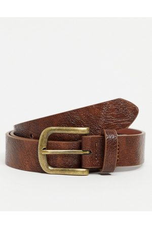 ASOS Skinny belt in vintage tan faux leather with antique gold buckle