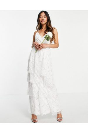 VILA Bridal cami smock dress with tiered skirt in light floral