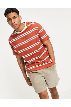 Another Influence Striped logo t-shirt in orange