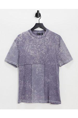 ASOS DESIGN Oversized t-shirt with acid wash & waffle panel detail