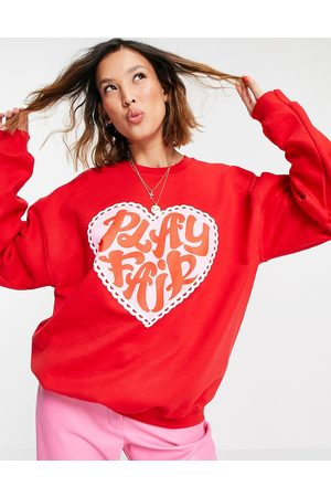 Vintage Supply Oversized sweatshirt with play fair heart graphic