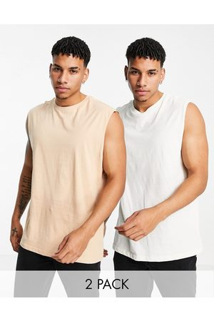 Another Influence 2 pack sleeveless t-shirt vest in ecru-Neutral