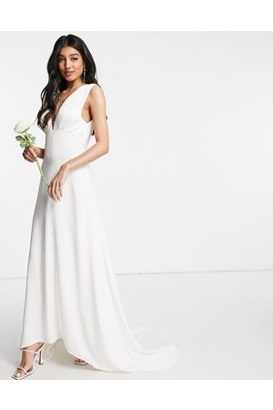 Y.A.S Bridal maxi dress with button detail and train in