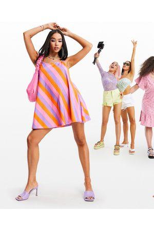 ASOS Tie shoulder halter jersey beach mini dress in bold stripe-Multi
