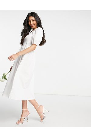 Y.A.S Bridal poplin midi dress with shirred top and puff sleeves in