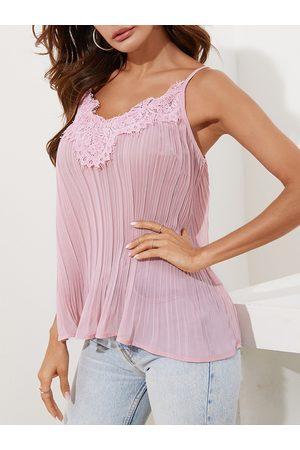 YOINS Women Tank Tops - Lace trim V-neck Sleeveless Cami