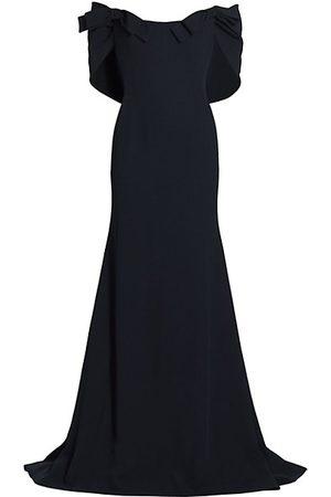 Oscar de la Renta Bow-Trimmed Draped Cady Gown