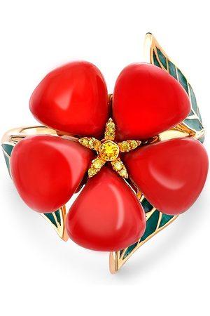Pragnell 18kt yellow Wildflower Poppy diamond ring
