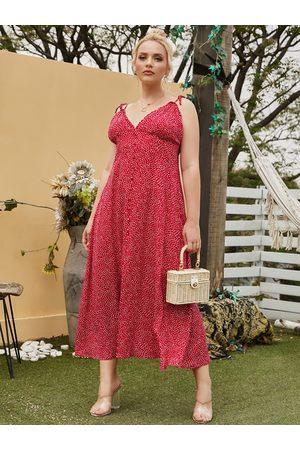 YOINS Women Maxi Dresses - Plus Size Spaghetti Polka Dot Slit Design Sleeveless Dress