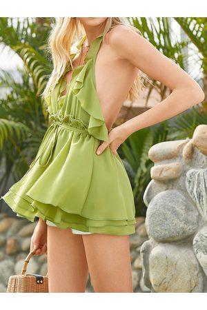 YOINS Ruffle Trim Backless Design Halter Sleeveless Cami