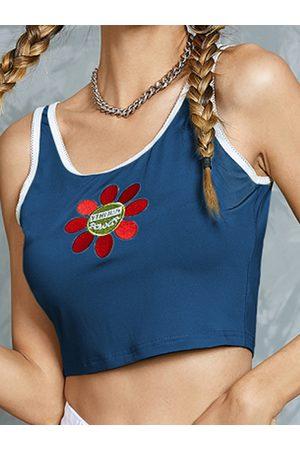 YOINS Sunflower Graphic Letter Scoop Neck Sleeveless Tank Top
