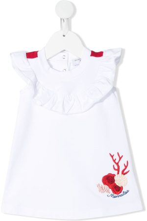 MONNALISA Embroidered-logo ruffled dress