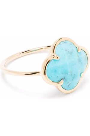 MORGANNE BELLO 18kt yellow Victoria clover stone turquoise corset ring