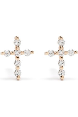 DJULA Men Earrings - 18kt rose gold diamond Big Cross earrings