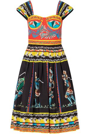 Dolce & Gabbana Women Printed Dresses - Mixed-print knee-length dress
