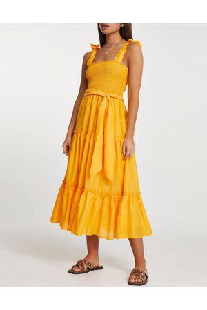 River Island Shirred midi beach dress in