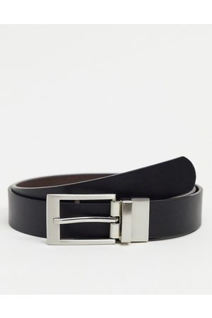 ASOS Reversible slim belt in brown and black faux leather with silver buckle-Multi