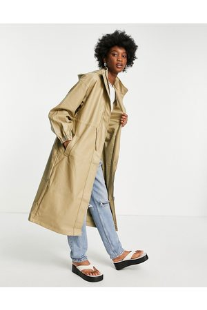 ASOS Faux leather slouchy parka coat in camel