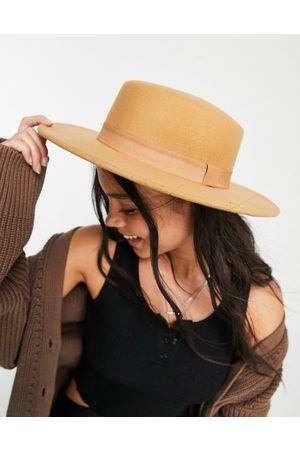 ASOS Structured boater hat with size adjuster in camel