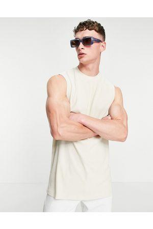 ASOS Oversized longline rib vest in light -Neutral