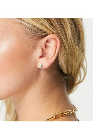 Kingsley Ryan Stud earrings in sterling silver plate with green stone and faux ear cuff