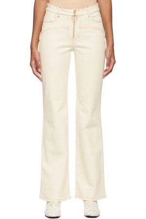 See by Chloé Off-White & Red Topstitch Jeans