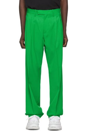 Off-White Green Wool Classic Trousers