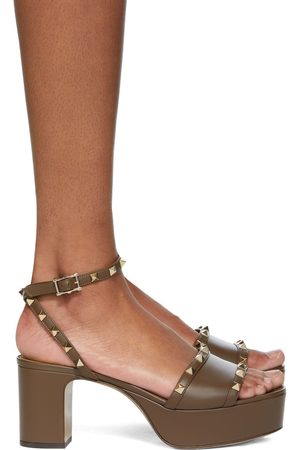 Valentino Garavani Taupe Rockstud Platform Sandals