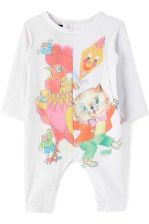 Chopova Lowena SSENSE Exclusive Baby White Cat & Rooster Print Grow Long Jumpsuit