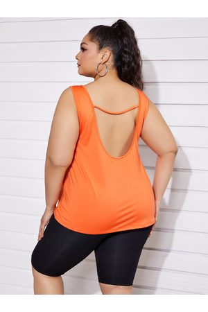 YOINS Women Tank Tops - Plus Size Backless Design Scoop Neck Sleeveless Tank Top