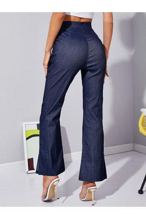 YOINS Flare Leg Slit Hem High Waist Pants